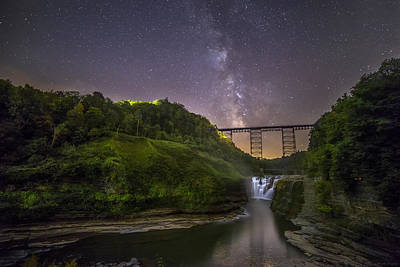 Starry Sky At Letchworth Print by Mark Papke