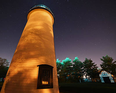 New England Lighthouse Digital Art - Starry Sky Over The Newburyport Harbor Light Closeup by Toby McGuire