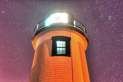 New England Lighthouse Digital Art - Starry Sky Over The Newburyport Harbor Light Window 2 by Toby McGuire