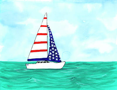 Independence Day Painting - Stars And Strips Sailboat by Darice Machel McGuire