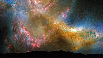 Hubble Space Telescope Views Photograph - Stars In The Night Sky Milky Way And Andromeda Galaxy by Matthias Hauser