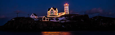 Lighthouse Photograph - Stars Over Nubble Lighthouse In Maine by Jeff Folger