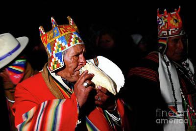 Start Of Aymara New Year Ceremonies Bolivia Print by James Brunker