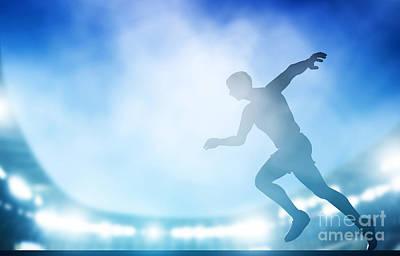 Stadium Photograph - Start Of The Run On The Stadium In Night Lights by Michal Bednarek