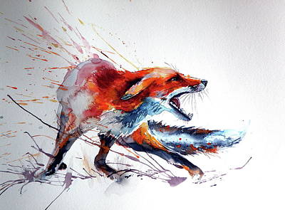 Fox Painting - Startled Red Fox by Kovacs Anna Brigitta