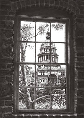 Capitol Building Drawing - State Capitol Of Texas by Norman Bean