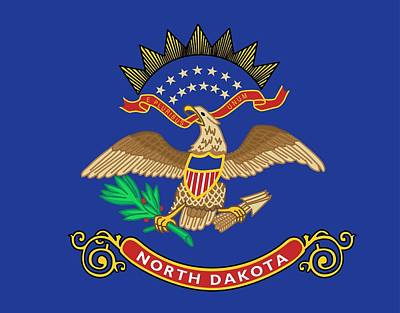 Sun Symbol Painting - State Flag Of North Dakota by American School