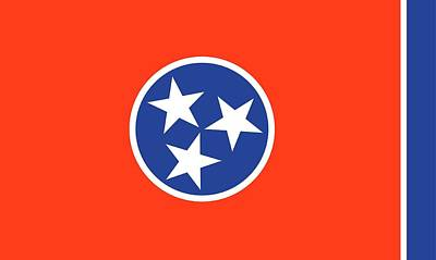 Red White And Blue Painting - State Flag Of Tennessee by American School