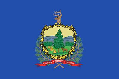 Coat Of Arms Painting - State Flag Of Vermont by American School