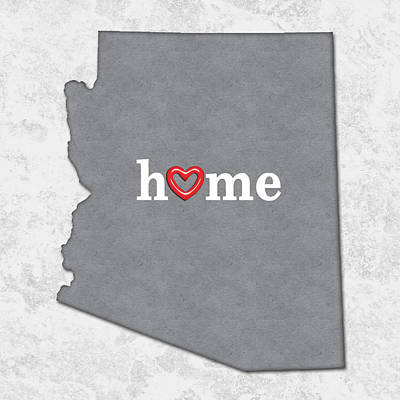 Pride Painting - State Map Outline Arizona With Heart In Home by Elaine Plesser
