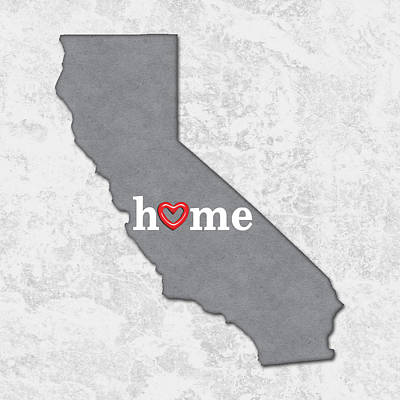 Pride Painting - State Map Outline California With Heart In Home by Elaine Plesser