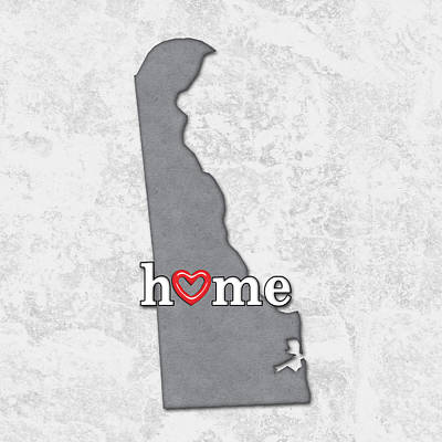 Pride Painting - State Map Outline Delaware With Heart In Home by Elaine Plesser