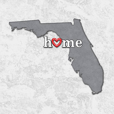 Pride Painting - State Map Outline Florida With Heart In Home by Elaine Plesser