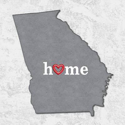 Pride Painting - State Map Outline Georgia With Heart In Home by Elaine Plesser