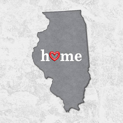 Pride Painting - State Map Outline Illinois With Heart In Home by Elaine Plesser