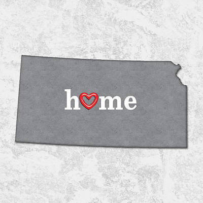 Pride Painting - State Map Outline Kansas With Heart In Home by Elaine Plesser