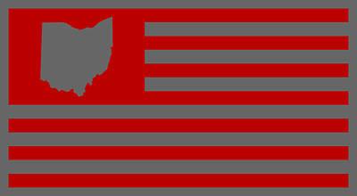 Buckeye Digital Art - State Of Ohio - American Flag by War Is Hell Store