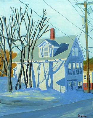 Maine Winter Painting - State Street Shadows by Laurie Breton