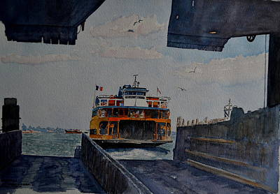 Docking Painting - Staten Is. Ferry Docking by Anthony Butera