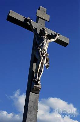 Statue Of Jesus Christ On The Cross Print by Sami Sarkis