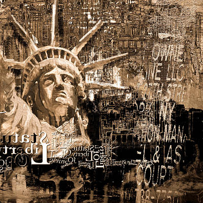 Chrysler Building Painting - Statue Of Liberty 204 4  by Mawra Tahreem