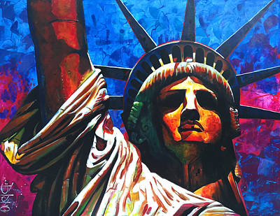 Americas Freedom Icon Painting - Statue Of Liberty by Carlos Blanco