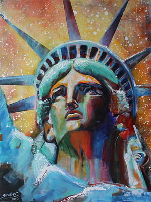 Statue Portrait Painting - Statue Of Liberty by Katarzyna Scaber