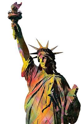 Liberty Island Digital Art - Statue Of Liberty by Marlene Watson