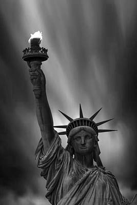 Statue Of Liberty Torch Photograph - Statue Of Liberty Monochrome by Martin Newman