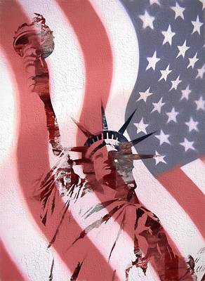 Us Flag Mixed Media - Statue Of Liberty On American Flag by Dan Sproul