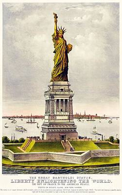 Statue Of Liberty Drawing - Statue Of Liberty by Pg Reproductions