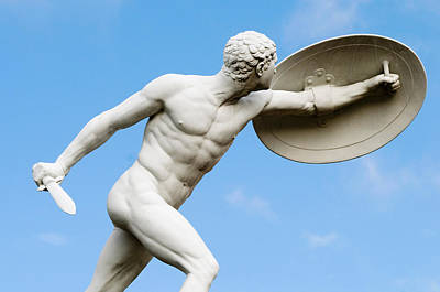 Nude Men Photograph - Statue Of Nude Man With Shield And Dagger by German School