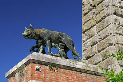 Wolf Photograph - Statue Of She Wolf Suckling Romulus And Remus In Siena Tuscany I by Reimar Gaertner