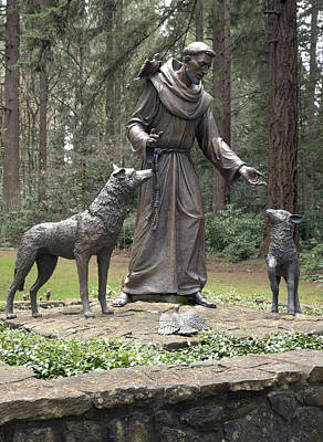 Statue Of St. Francis Of Assisi. Print by Gino Rigucci