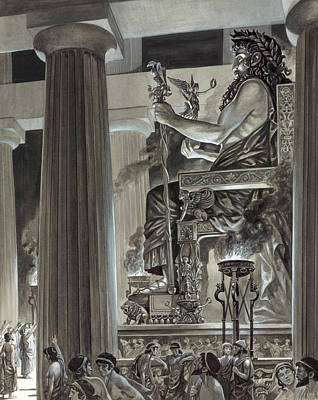 Wonders Of The World Painting - Statue Of Zeus At Olympia by Peter Jackson