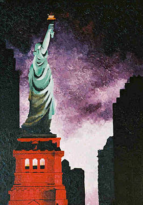 Twin Towers Nyc Painting - Statue Still Stands by T Fischler
