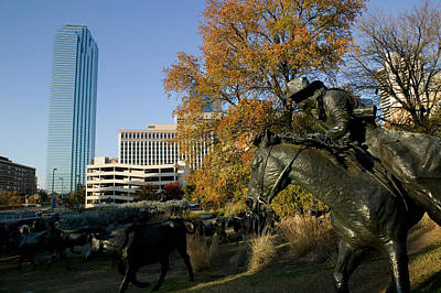 Bronze Horse Photograph - Statues In A Park, Cattle Drive by Panoramic Images