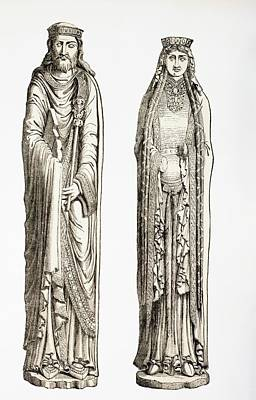 Statue Portrait Drawing - Statues Of King Clovis I And His Wife by Vintage Design Pics
