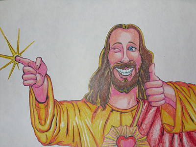 Smiling Jesus Mixed Media - Stay Cool by Michael Toth