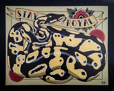 Burmese Python Drawing - Stay Royal Ball Python by Donovan Winterberg