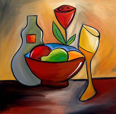 Pop Art Drawing - Staying In - Abstract Wine Art By Fidostudio by Tom Fedro - Fidostudio