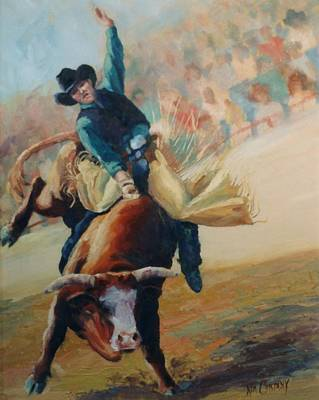Bucking Bull Painting - Staying In The Middle Rodeo Bucking Bull by Kim Corpany