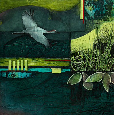 Crane Mixed Media - Steady Your Course by Laura  Lein-Svencner