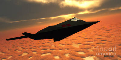 Twin Flame Painting - Stealth Fighter Jet Side View by Corey Ford
