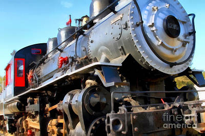 Wingsdomain Digital Art - Steam Locomotive Engine 1215 . 7d12980 by Wingsdomain Art and Photography
