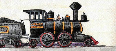 Road Rod Painting - Steam Locomotive by R Kyllo
