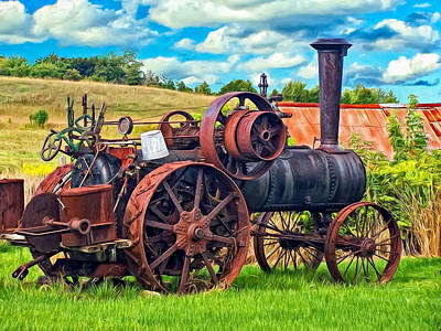 Steam Tractor Photograph - Steam Powered Tractor - Paint by Steve Harrington
