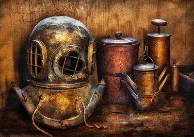 Diving Helmet Photograph - Steampunk - A Collection From My Journeys by Mike Savad