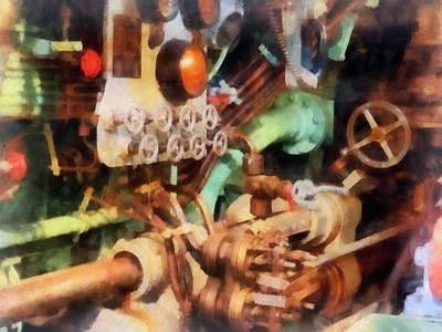 Steampunk - Torpedo Controls Print by Susan Savad