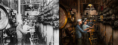 Steampunk - Controls On The Uss Washington 1920 - Side By Side Print by Mike Savad